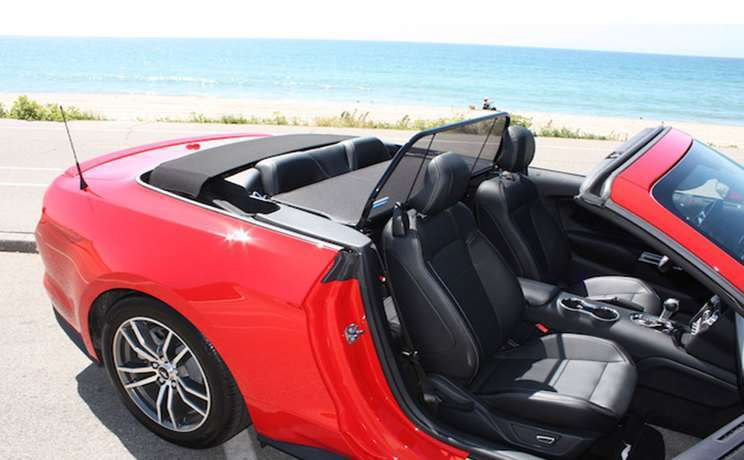 2015 mustang red gt convertible with a wind deflector by love the drive