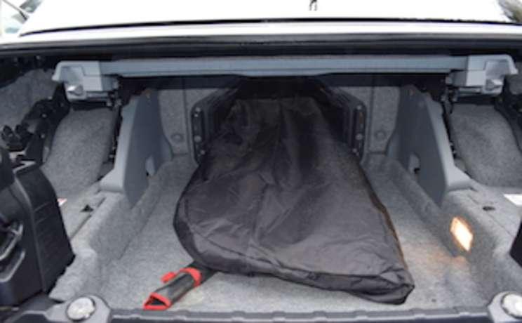 Bmw e93 3 series convertible wind deflector thru passageway trunk into backseat