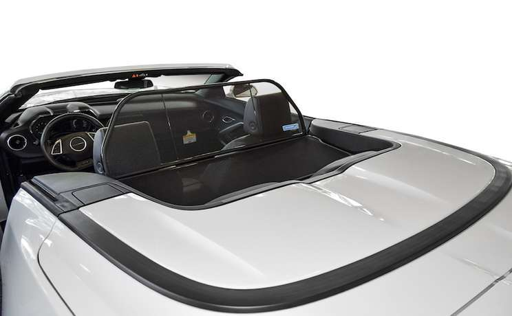 Camaro convertible wind deflector 2016 to 2020 by love the drive white rear view