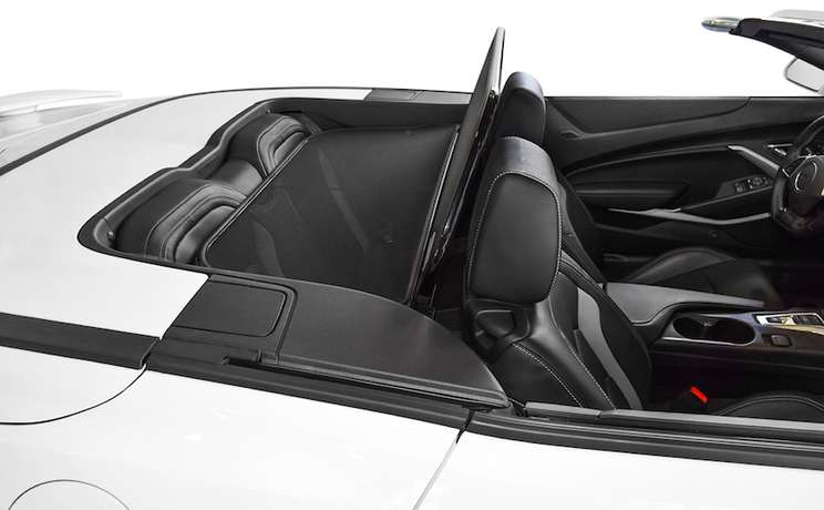 Camaro convertible wind deflector 2016 to 2020 by love the drive white side view 3