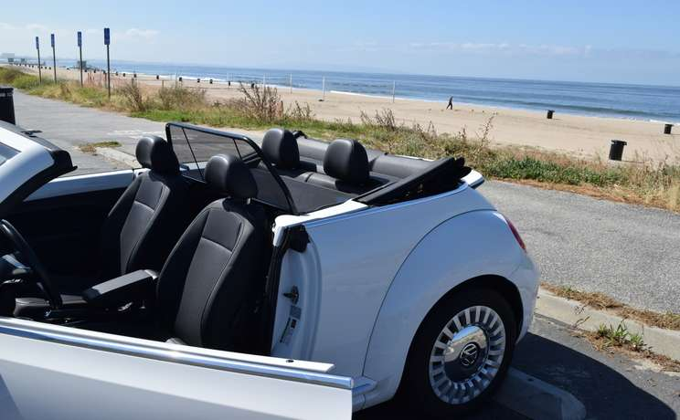 Vw beetle convertible from 2012 to 2019 wind deflector by love the drive drivers door open